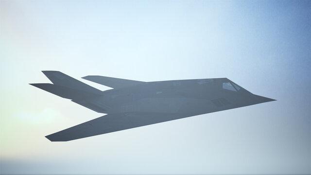 Stealth Fighter Jet Aircraft Flying Low Sunrise Sunset 3d illustration 3d render