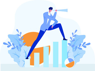 Business vision vector concept: businessman standing on ascending business chart while peeking distantly with the telescope