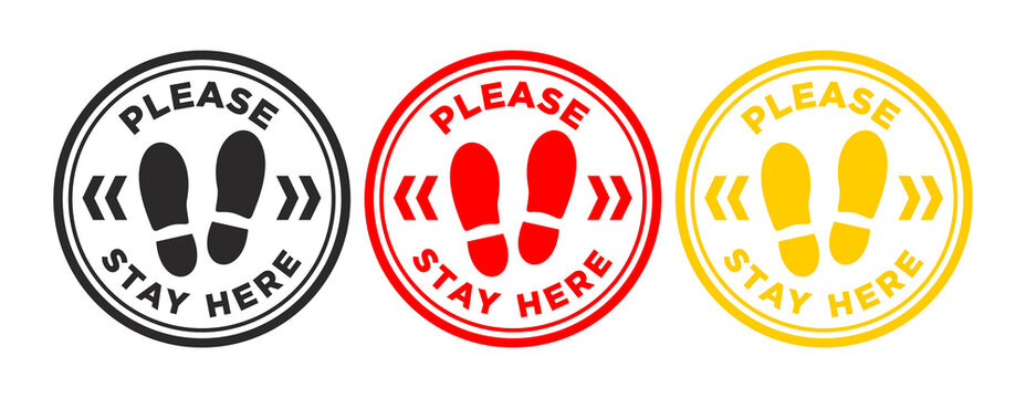 Floor Sticker or print stamp Social Distancing or Stay here for shops, supermarkets and other crowded places. Preventive measure against coronavirus infection(COVID-19). Illustration, vector