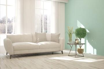 Foto auf Acrylglas Rosa dunkel White room with sofa and winter landscape in window. Scandinavian interior design. 3D illustration