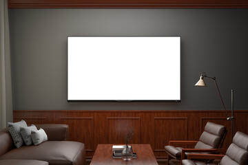 Glowing TV screen at night mockup in classic decoration living room. Front view. Clipping path around screen.