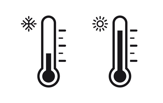 Temperature Symbol Set .Three vector thermometer showing the temperature . Thermometer icon