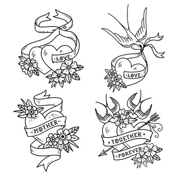 Collection of Heart Tattoos with birds.Old school style. Two hearts pierced by arrow. Tattoo hearts with flower and Swallow. Isolated tattoo red heart with ribbon. Love. Valentines Day illustration.