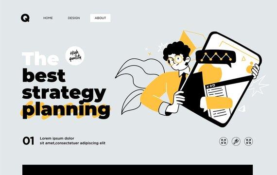 Presentation slide template or landing page website design. Business concept illustrations. Modern flat style. Vector