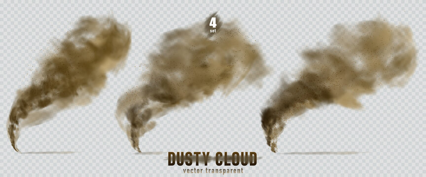 Dusty cloud or broun dry sand flying with a gust of wind, sandstorm, explosion realistic texture with small particles or grains of sand illustration 4 set isolated on transparent background. Vector.