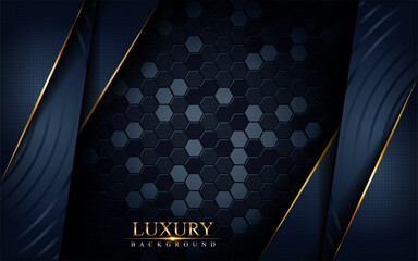 Luxury dark navy background with golden lines composition. Graphic design element.