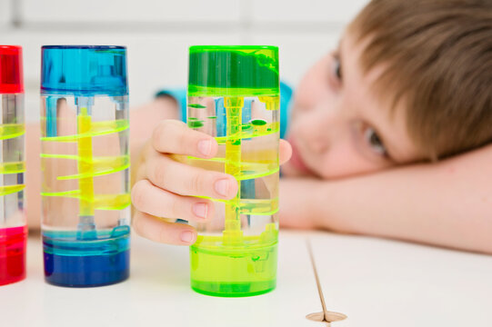 Sensory experiences for autistic boy. Relaxation time.