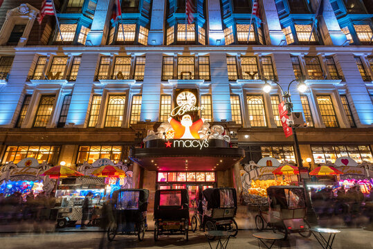 New York City, NY, USA - December 02, 2016: Macy's (Department Store) with Christmas window display decorations. Midtown Manhattan