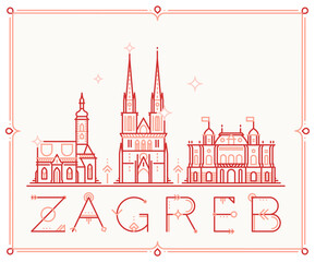 Fototapete - Skyline Zagreb, Croatia vector city buildings line