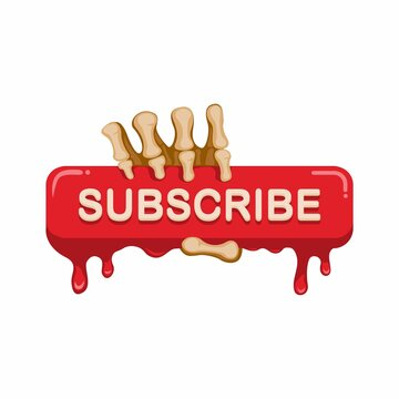 Subscribe button with skeleton hand, horror nigtmare theme video streaming subcription. concept in cartoon illustration vector isolated in white background