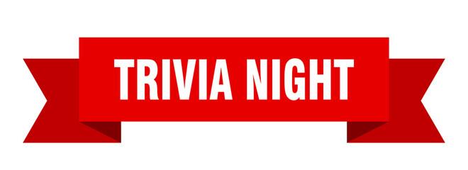 trivia night ribbon. trivia night paper band banner sign