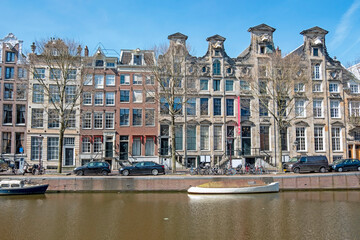 Medieval houses along the canal in Amsterdam the Netherlands