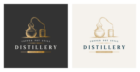 Copper pot still whiskey distillery premium logo