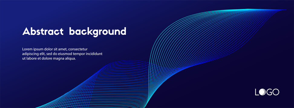 Abstract dark blue minimal vector background. Long banner business template with dynamic wavy line