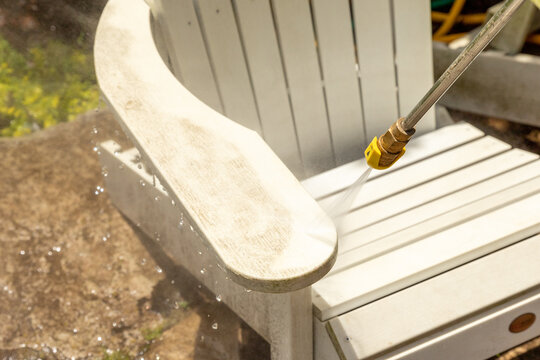 Power washing outdoor furniture