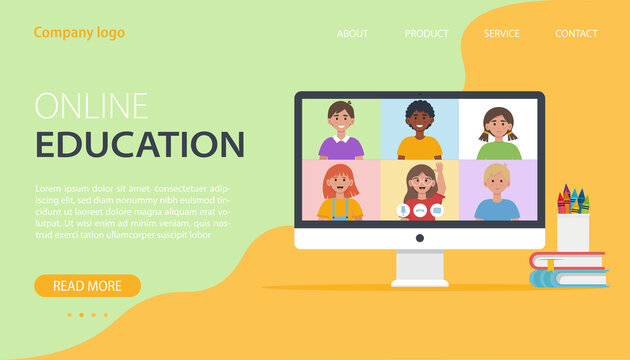 Video conference with school children. Online education concept. Flat vector illustration