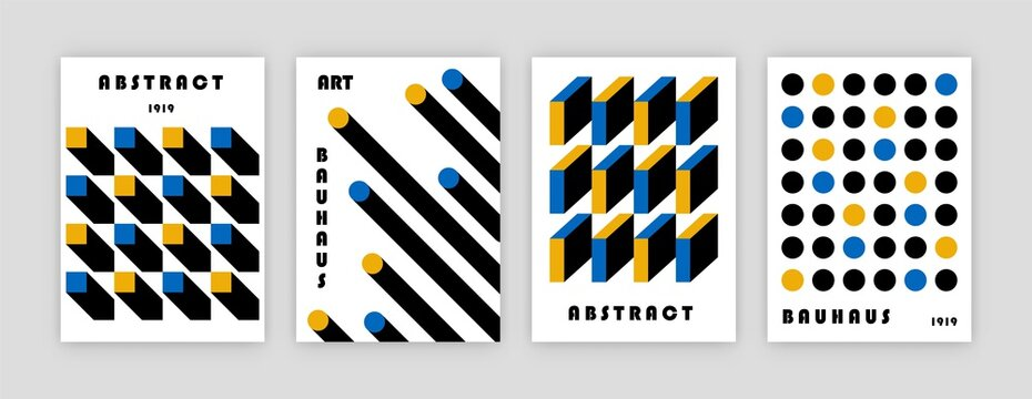 Bauhaus poster design. Abstract modern cover templates geometric swiss pattern circle square lines. Vector set illustration