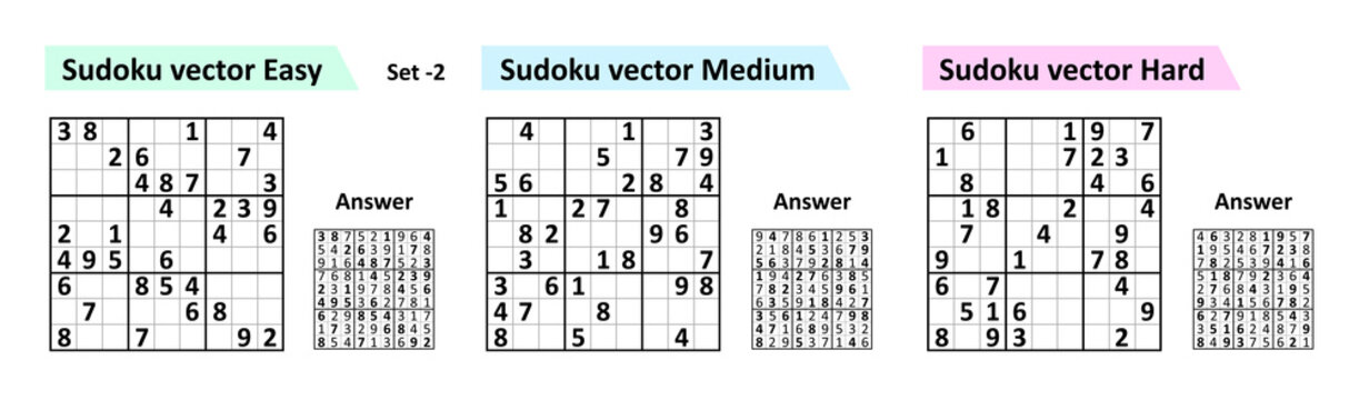 Sudoku game with answers. Simple vector design set Sudoku. Blank template.