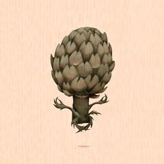 Illustration of artichoke doing yoga
