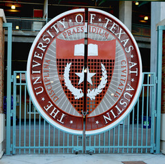 April 26, 2019, Austin, Texas. The University of Texas symbol on Longhorns football stadium gate. The Darrell K. Royal Texas Memorial Stadium has been home to the University of Texas at Austin Longhor
