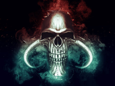 Demon skull in red and blue smoke and fog
