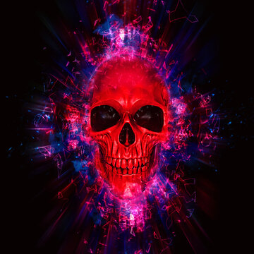 Bright red neon skull - space explosion