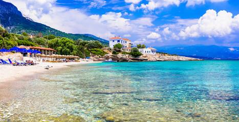 Greece. Idyllic beautiful beaches of Samos island - beautiful Limnionas beach