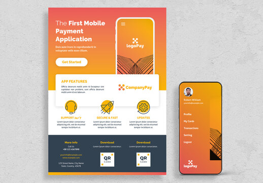 Flyer Layout with Orange Gradient Accents and Mobile Phone Illustrations