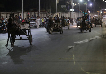 Egyptian merchants are seen in action showing off their horses's strengths during a horse cart race, following the outbreak of the coronavirus disease (COVID-19), in Cairo