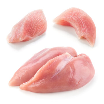 Chicken breast piece isolated. Raw diced chicken breast on white. Poultry raw. Set of chicken meat pieces.