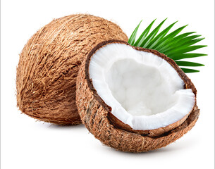 Coco. Coconut isolated. Coconut half and leaves on white background. Full depth of field.