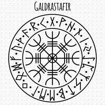 Galdrasta r. Magic Navigation Compass of ancient Icelandic Vikings with scandinavian runes.