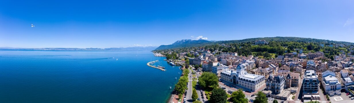 Aerial view of Evian (Evian-Les-Bains) city in Haute-Savoie in France