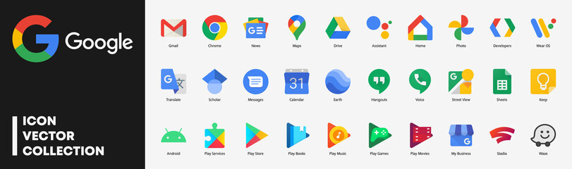 Google app icons set. Isolated Google Applications vector. Products logo : Chrome, Gmail, Maps, Drive, Android, Play Store, Translate, Waze, Earth, Stadia, home, Sheets… Collection on white background