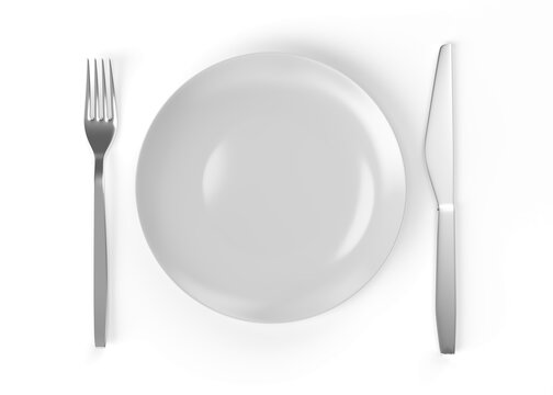 Knife and fork plate 3d rendering