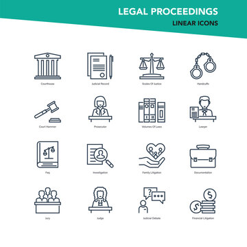 Vector set of line icons of legal proceedings and law