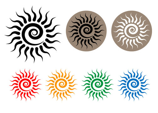 Set Colorful Tribal Sun Tattoo Sonnenrad Symbol, sun wheel sign. Summer icon. The ancient European esoteric element. Logo Graphic element spiral shape. Vector design isolated or white background