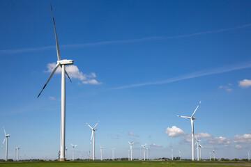 Windkrafträder auf einer grünen Wiese