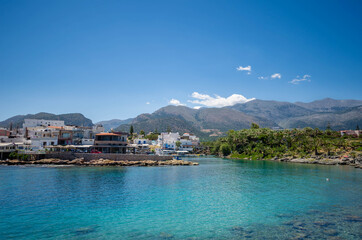 View of the port of the traditional seaside village of Sisi in Crete.