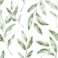 Beautiful hand-drawn green leaf seamless pattern. Tea watercolor illustration. Tropical plant. Background. Textile design.