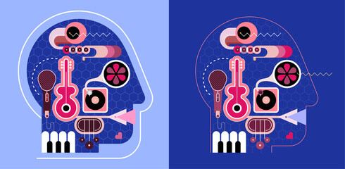 Human head shape design consisting with a different musical instruments vector illustration. Two options of music head design. A music playing inside a head.