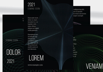 Flyer Layout with Abstract Green Wireframe Shapes