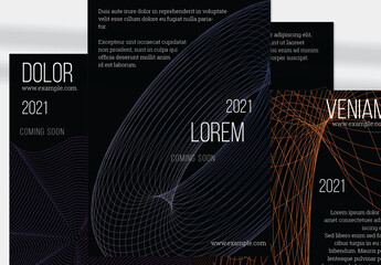 Flyer Layout with Abstract Orange Wireframe Shapes