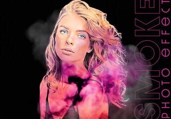 Color Smoke Portrait Photo Effect Mockup