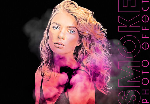 Color Smoke Portrait Photo Effect Mockup