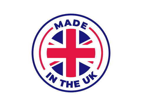 """""""Made in the UK"""" vector icon. Illustration with transparency, which can be filled with white, or used against any background. Country flag encircled with text and lines."""