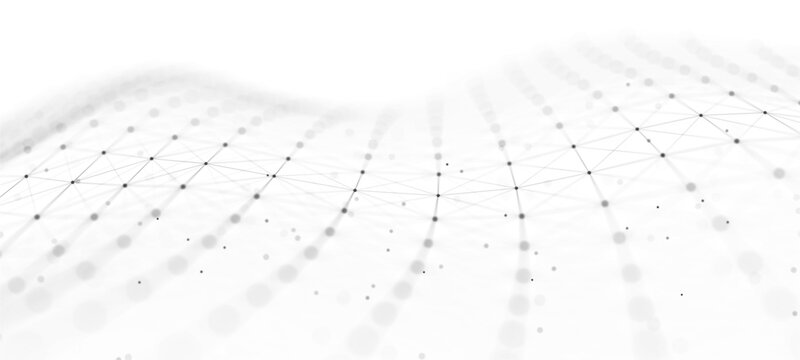 Big data visualization. Abstract background with interweaving of dots . 3D rendering.
