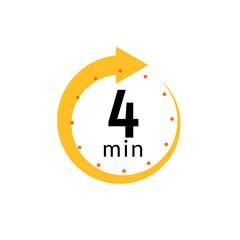 Fototapeta 4 minutes clock quick number icon. 4min time circle icon obraz