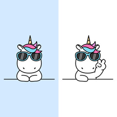 Cute unicorn with sunglasses over wall cartoon, vector illustration