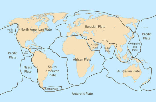 Tectonic plate earth map. Continental ocean pacific, volcano lithosphere geography plates